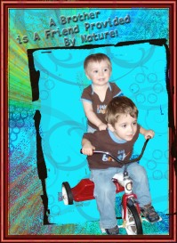 "Jacob and Jackson on Jacob's ""bike"""