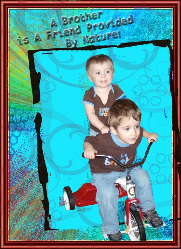 """Jacob and Jackson on Jacob's """"bike"""""""