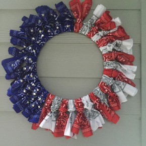 Pinterest Success – Red, White & Blue Bandana Flag Wreath