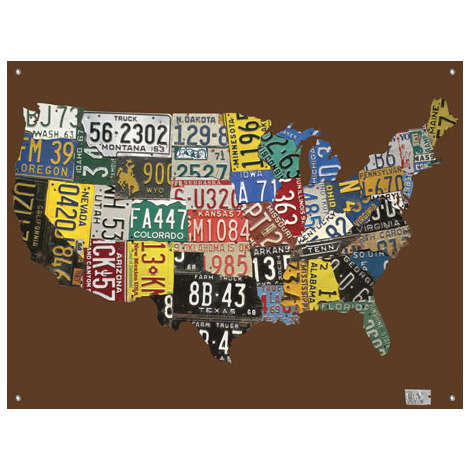 US Map License Plate Wall Art DIY Style Rainy Day Reflections - Us liscense plate map