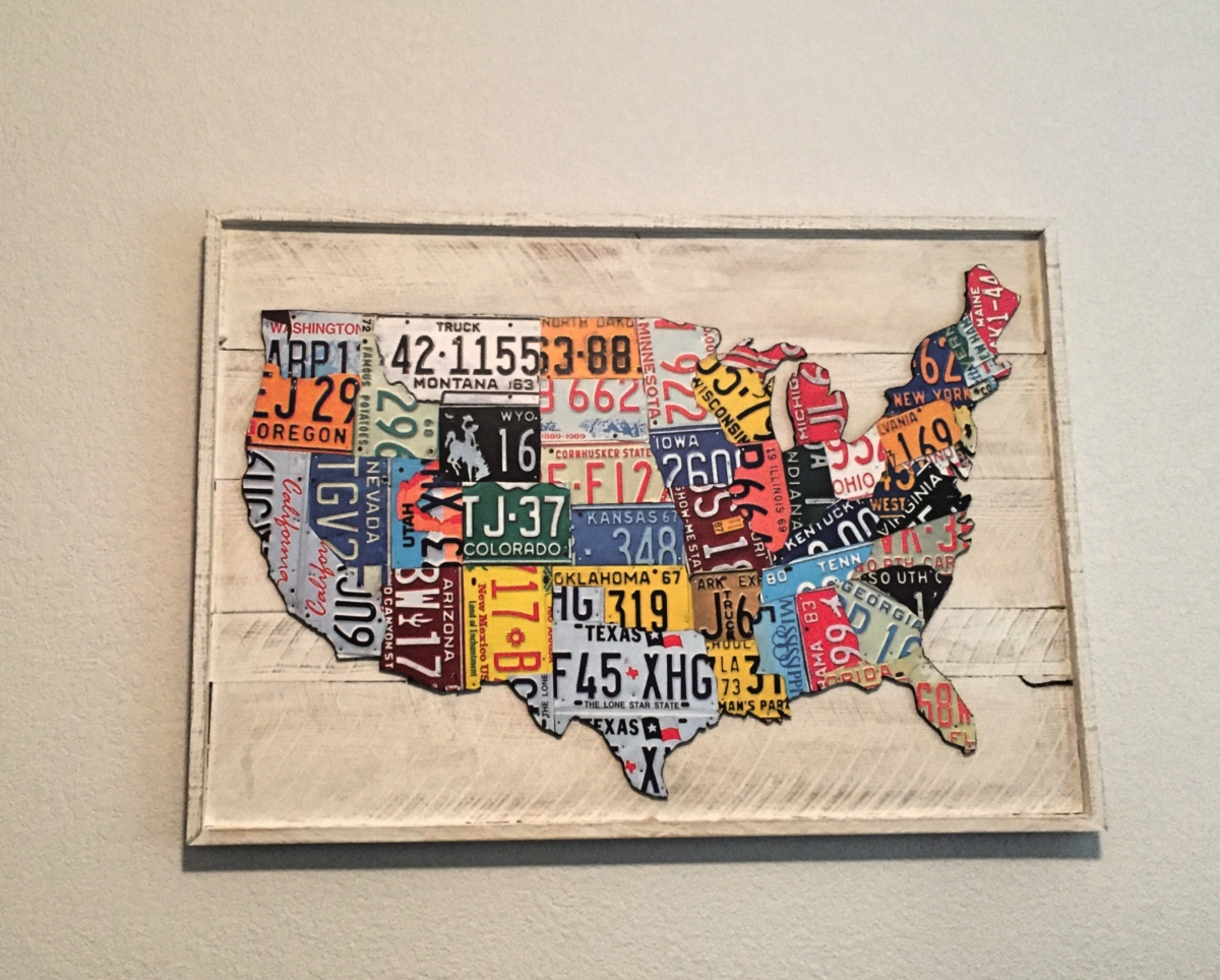 Us map license plate wall art diy style rainy day reflections solutioingenieria Images